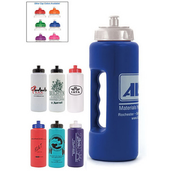 Custom 32 oz. Grip Bottle with Push 'n Pull Cap - BPA Free