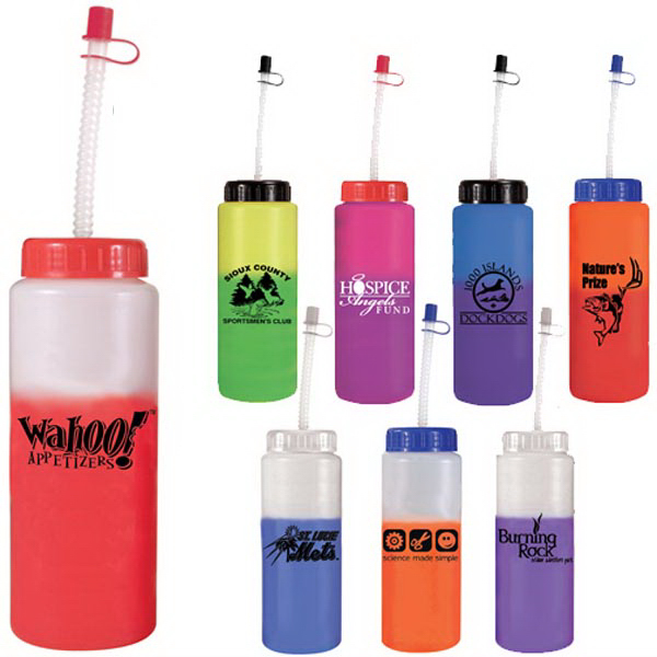 Customized 32 oz Mood Sports Bottle with Flexible Straw - BPA Free