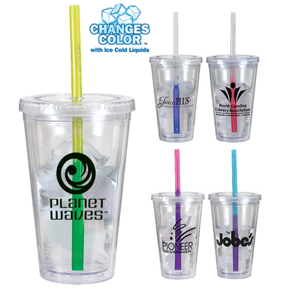 Imprinted 16 oz. Victory Acrylic Tumbler with Mood Straw