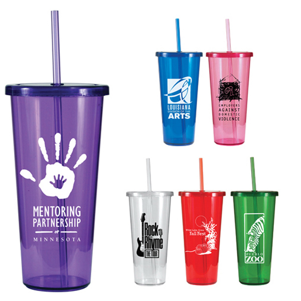 Printed 24 oz. Single Wall Tumbler with Straw