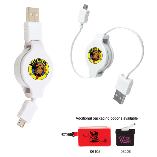 Promotional Retractable USB-Micro USB Adapter, Full Color Digital