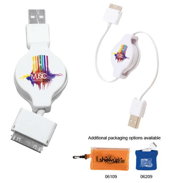 Personalized Retractable USB-30 Pin Adapter, Full Color Digital