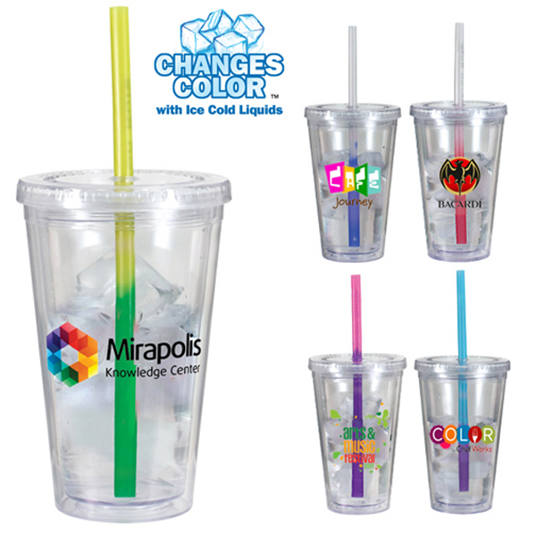 Printed 16 oz. Victory Acrylic Tumbler with Mood Straw