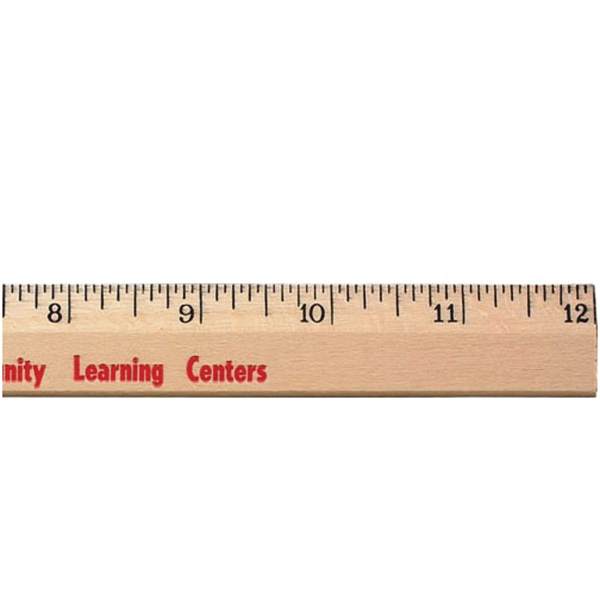 "Customized 12"" Clear Lacquer Beveled Wood Ruler - English Scale"