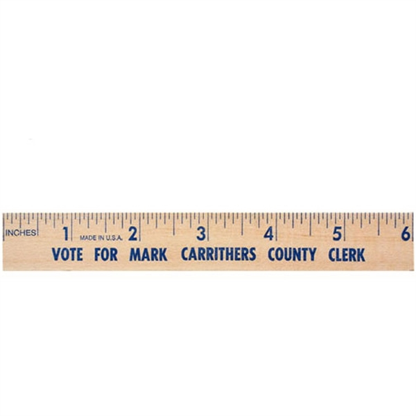 "Imprinted 6"" Natural Finish Flat Wood Ruler"