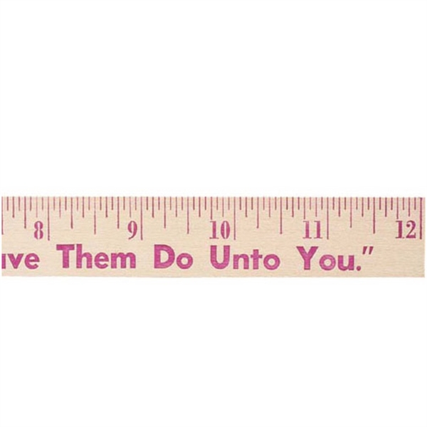 "Personalized 12"" Natural Finish Flat Wood Ruler"