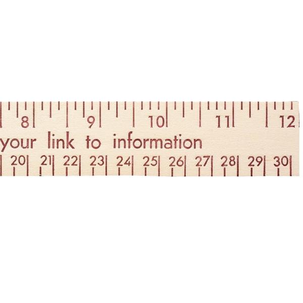 "Personalized 12"" Natural Finish Wood Ruler - English and Metric Scale"