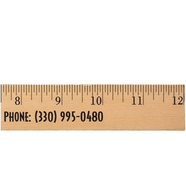 "Personalized 12"" Clear Lacquer Wood Ruler - English Scale"
