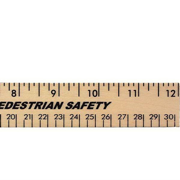 "Promotional 12"" Clear Lacquer Wood Ruler - English and Metric Scale"