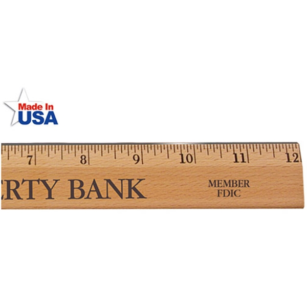 """Printed 12"""" Executive Office Ruler, Lacquer Finish with Metal Edge"""