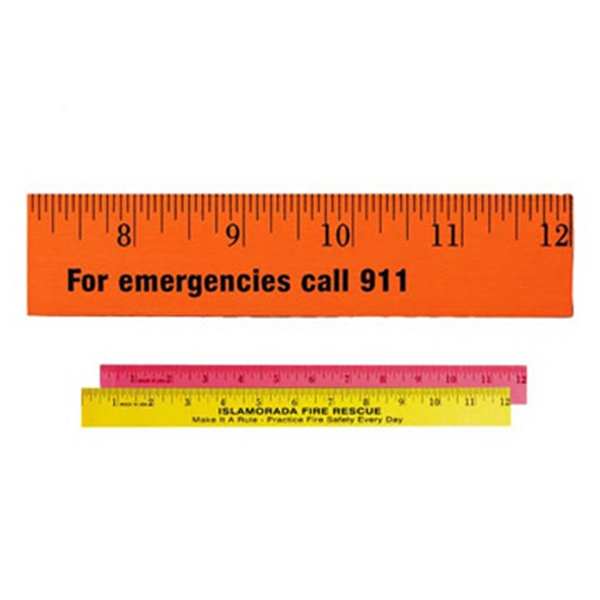 "Personalized 12"" Fluorescent Wood Ruler - English Scale"