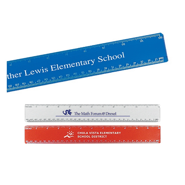 "Customized 12"" Beveled Plastic Ruler"
