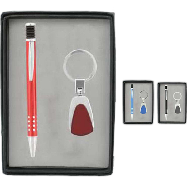 Customized Pen and Metal Keychain Gift Set