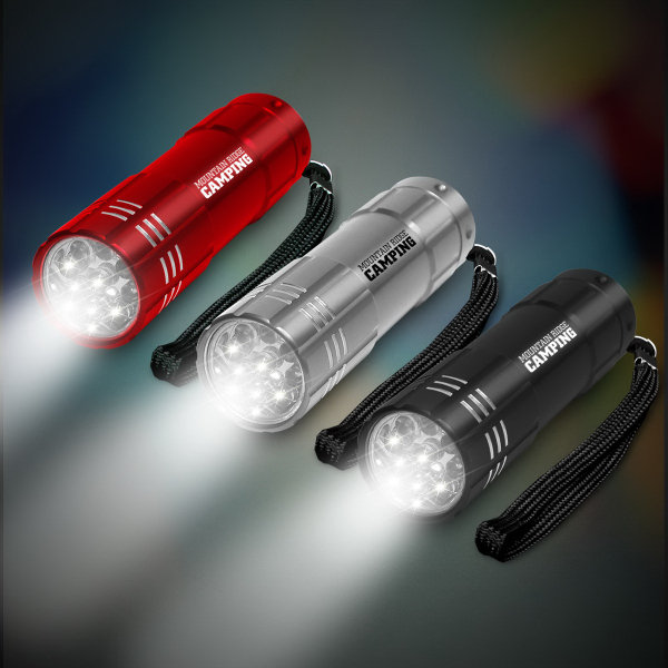 "Imprinted 3 3/4"" Metallic LED Light Up Flashlight"