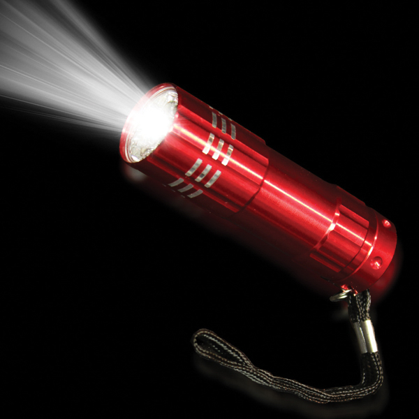 "Personalized Red 3 3/4"" Metallic LED Light Up Flashlight"