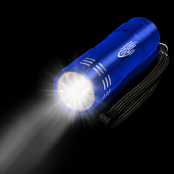"Printed Blue 3 3/4"" Metallic LED Light Up Flashlight"