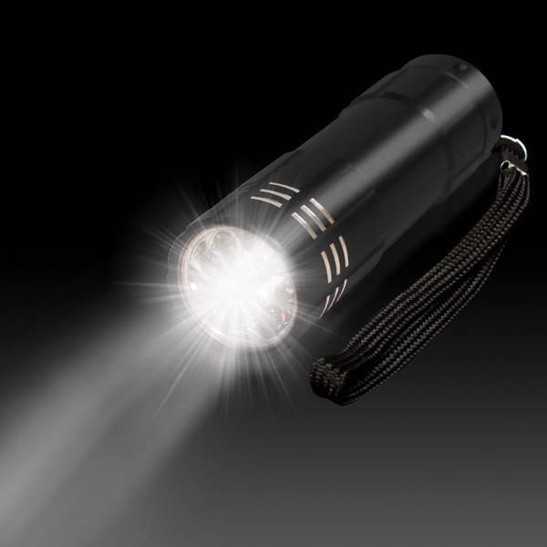 "Personalized Black 3 3/4"" Metallic LED Light Up Flashlight"