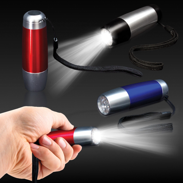 "Personalized 4"" Tapered Metallic LED Flashlight"