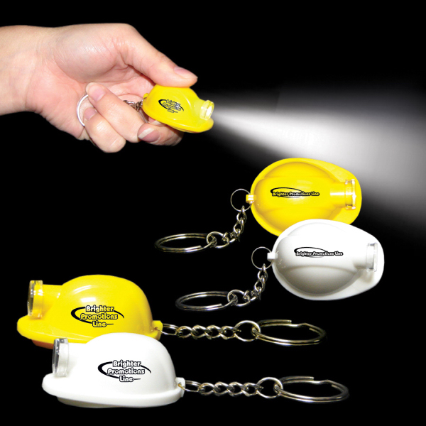 Imprinted Safety Helmet LED Light Up Flashlight Keychain