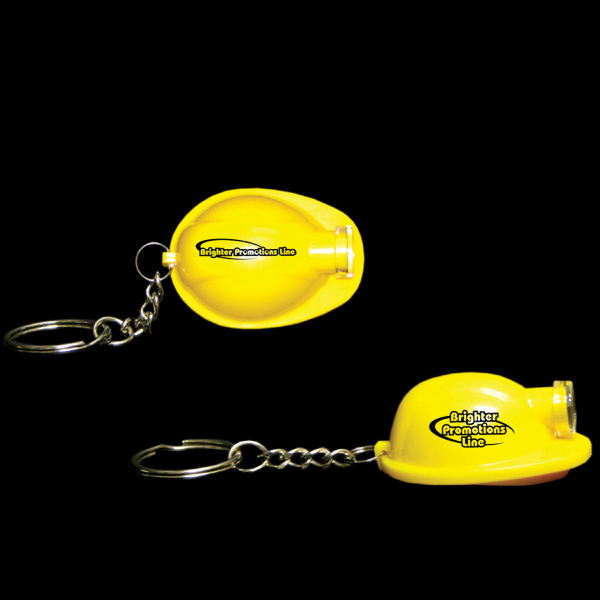 Customized Yellow Safety Helmet Flashlight Light Up LED Glow Keychain