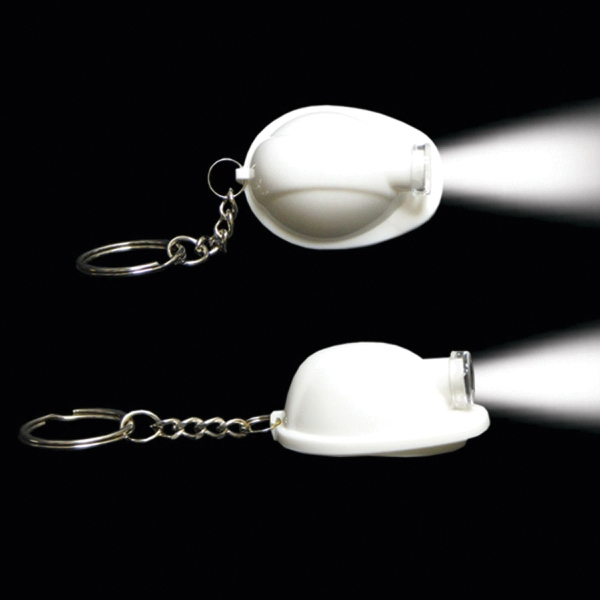 Customized White Safety Helmet Flashlight Light Up Glow LED Keychain
