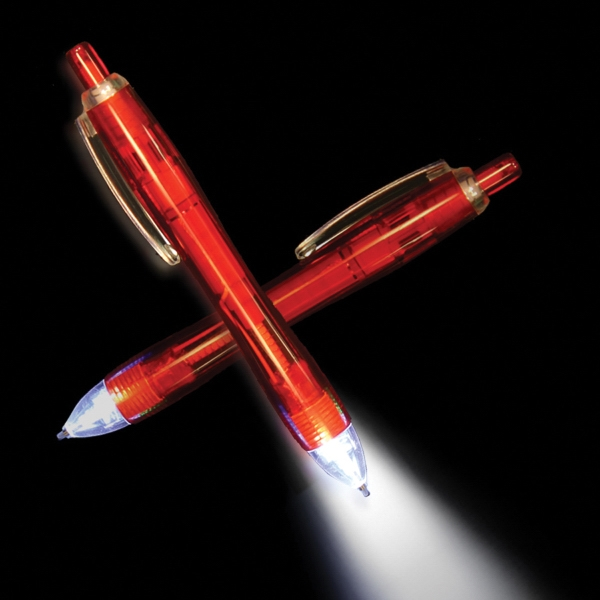 Imprinted Red Ultimate Lighted LED Glow Pen