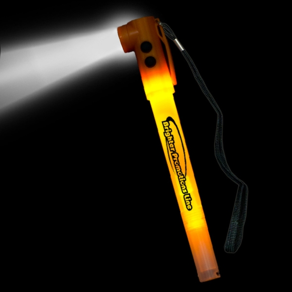 "Custom Orange 8"" Light-Up LED Glow Safety Stix"