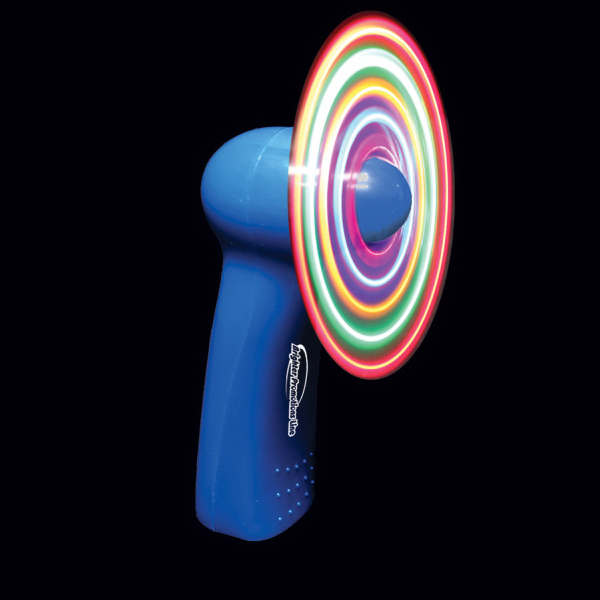 Personalized Blue Handheld MultiColor LED Glow Light Up Fan