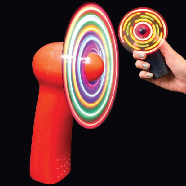 Printed Red Handheld MultiColor LED Glow Light Up Fan