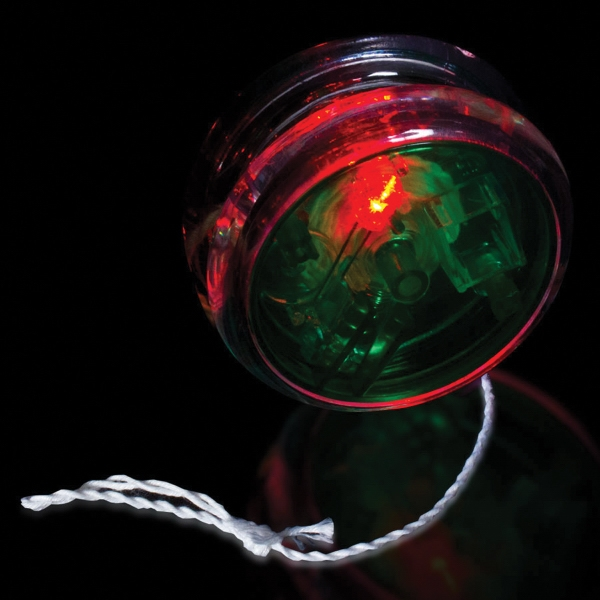"Customized Green & Clear 2 3/8"" Light Up Red Glow LED Yo-Yo"
