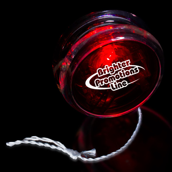 "Promotional Red & Clear 2 3/8"" Light Up Red Glow LED Yo-Yo"