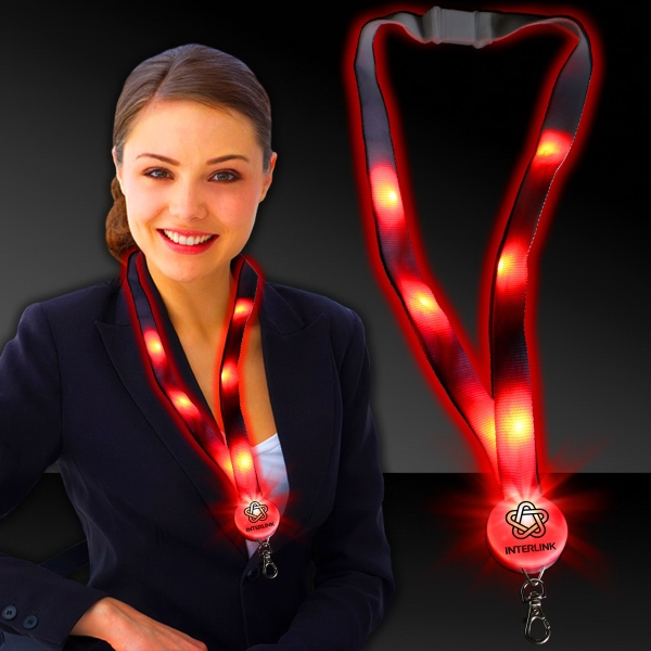 "Promotional Red 32"" Light Up Glow LED Flat Lanyard"