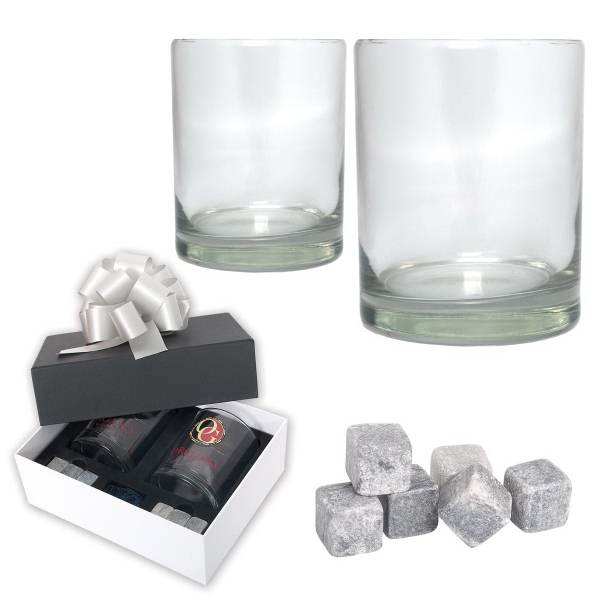 Imprinted Black Label Ice Rocks Glass Gift Set