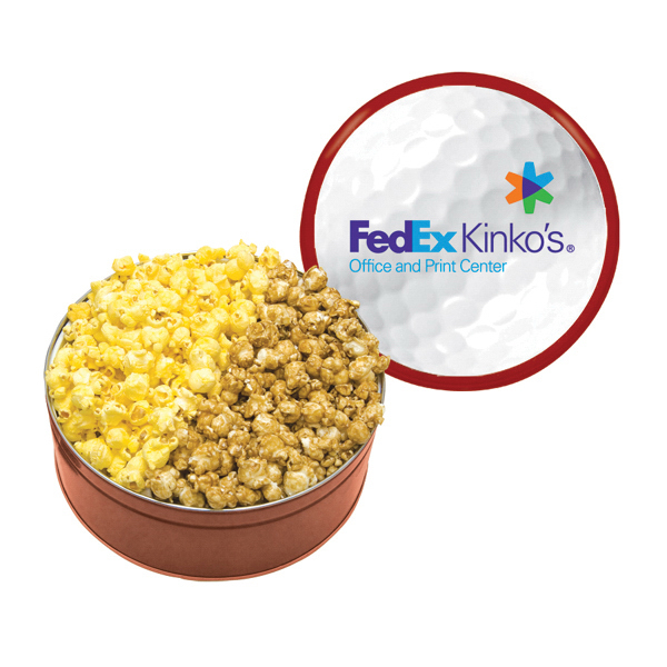 Custom The King Size Popcorn Tin with Butter & Caramel Popcorn- Red