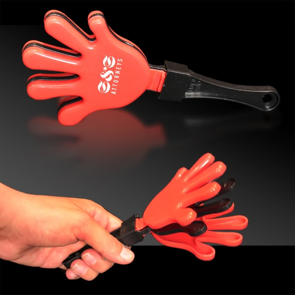 Imprinted Red Black & Red Hand Clapper