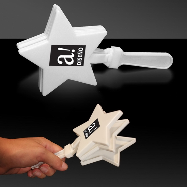 "Printed White 7"" Star Hand Clapper"