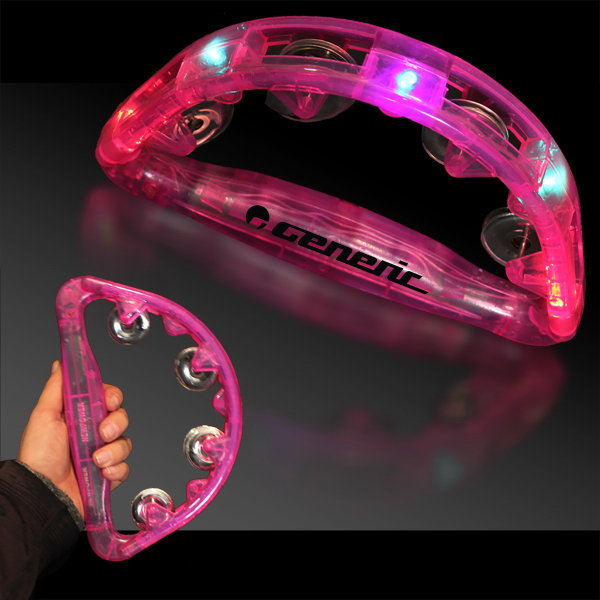 "Customized Pink 9"" Light Up Glow Tambourine"