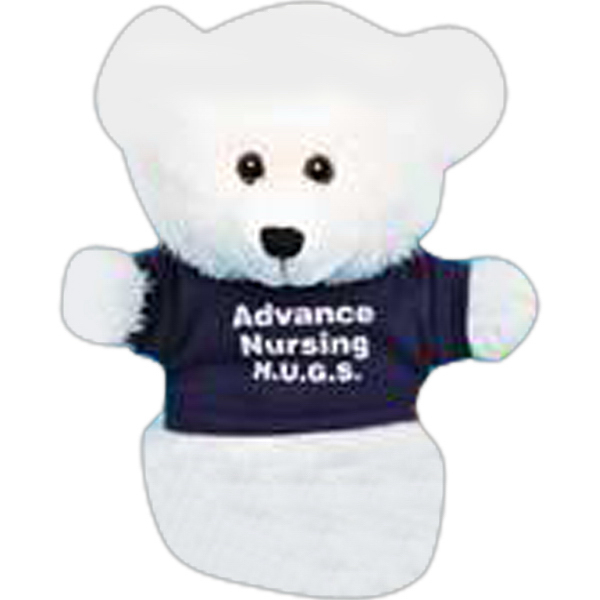 "Custom Handy Logo Puppets (TM) 10"" stuffed bear puppet"
