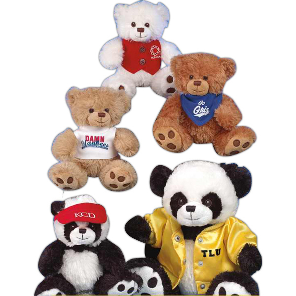 "Imprinted Patches Paw Bear (TM) 10"" stuffed panda bear"