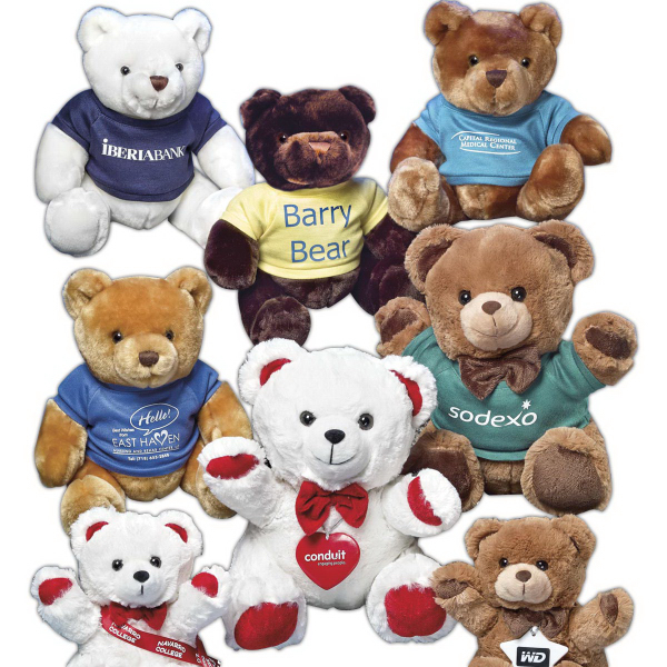 Personalized Sam Bears (TM) stuffed bear with red paw pads/bowtie