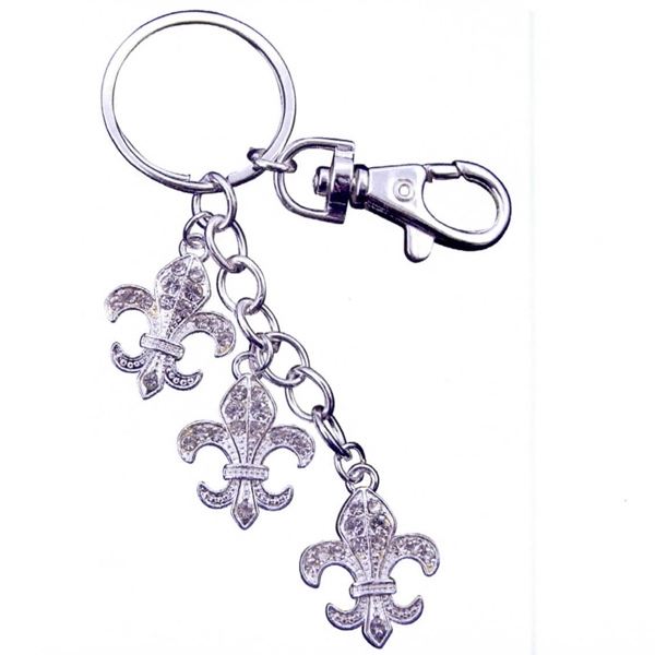 Personalized Fleur de Lys Key Chain with Purse Hook
