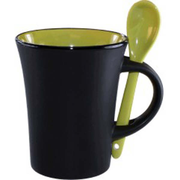 Imprinted Ceramic mug with spoon