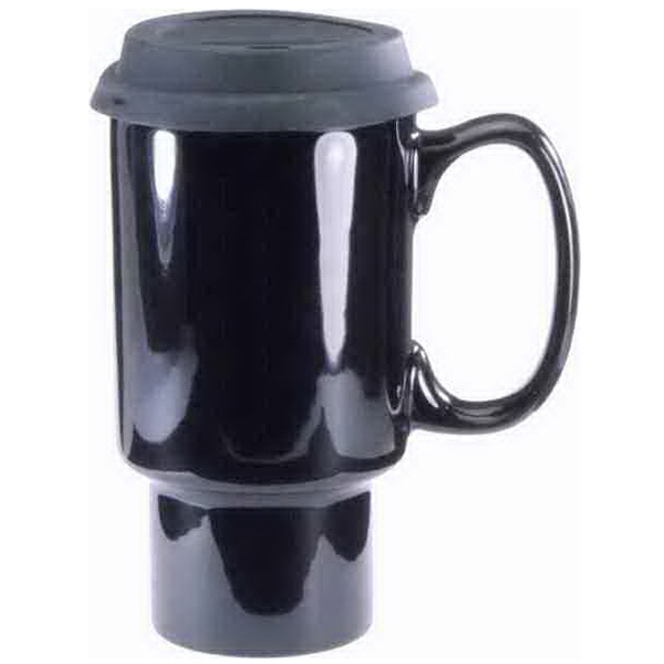 Imprinted Ceramic Travel Mug With Handle