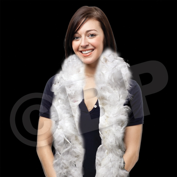 Imprinted White Adult Size Feather Boa
