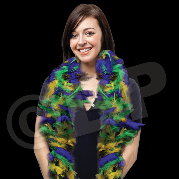 Printed Mardi Gras Adult Size Feather Boa
