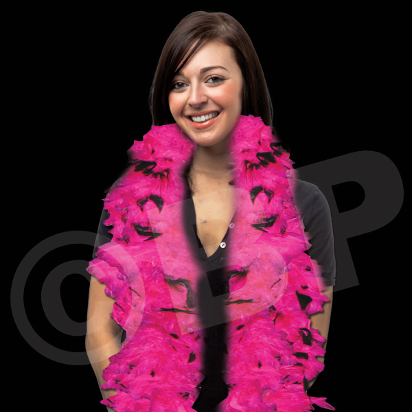 Imprinted Pink & Black Adult Size Feather Boa