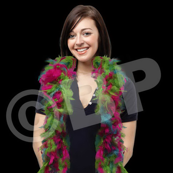 Printed Neon Multi Color Adult Size Feather Boa
