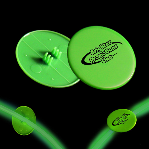 "Customized Green 1 1/2"" Clip On Medallion for Glow Necklaces & Bracelet"