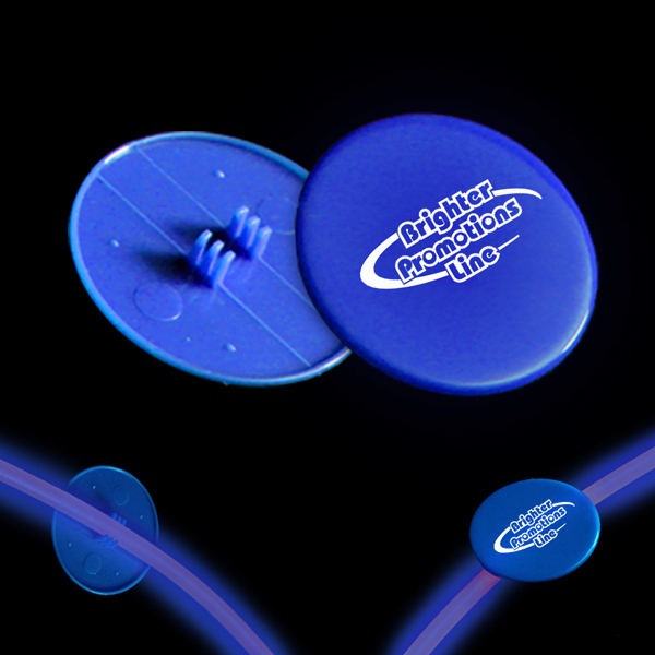 "Custom Blue 1 1/2"" Clip On Medallion for Glow Necklaces & Bracelets"