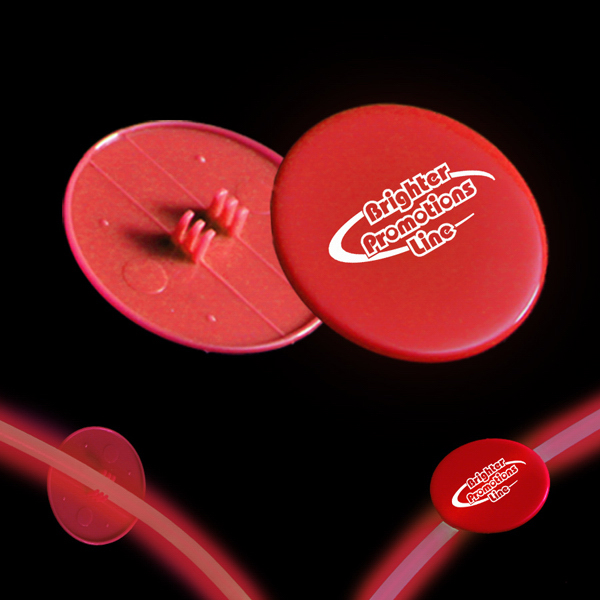"Imprinted Red 1 1/2"" Clip On Medallion for Glow Necklaces & Bracelets"